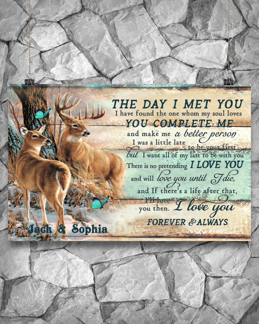 custom your name hunting buck and doe the day i met you i love you poster 5
