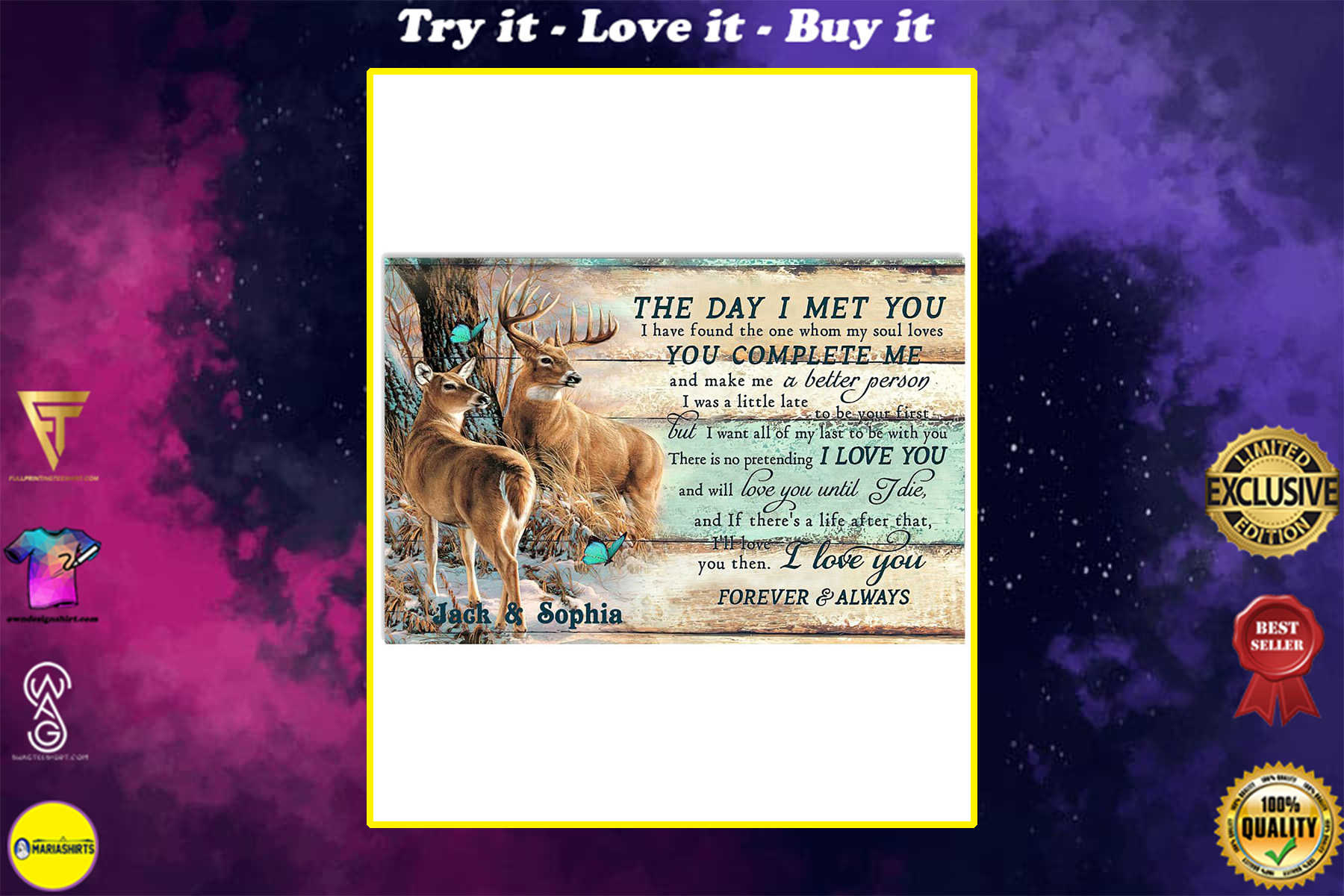 custom your name hunting buck and doe the day i met you i love you poster