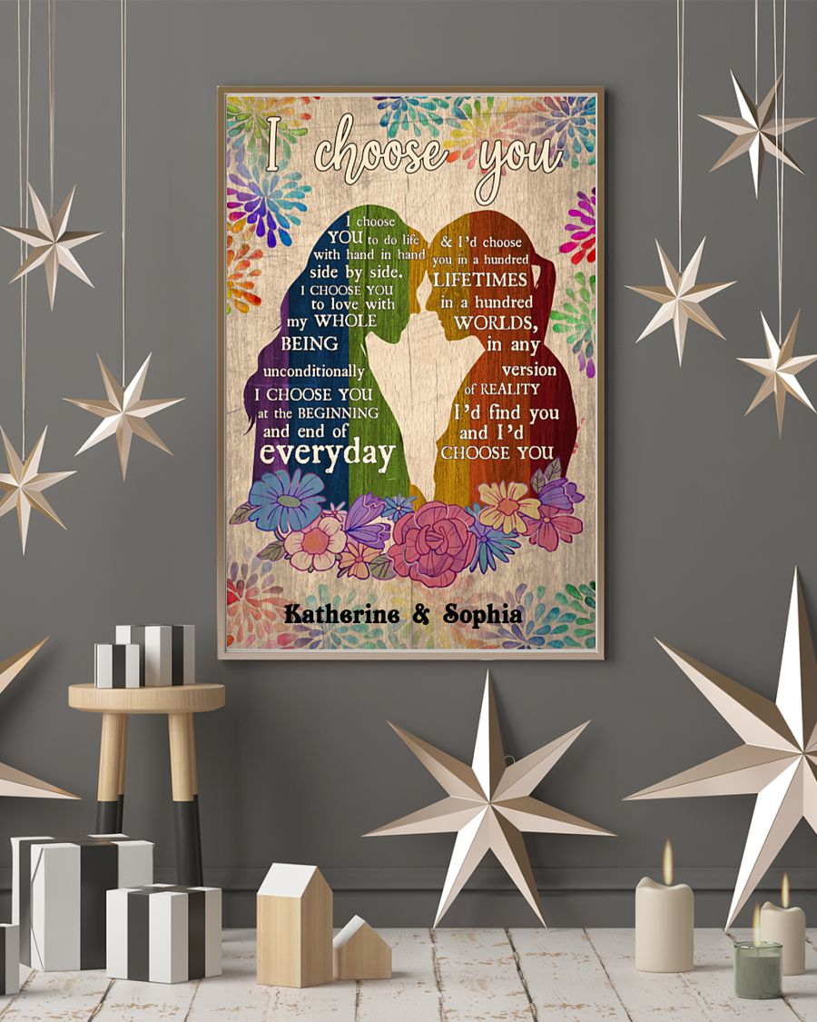 custom your name i choose you lesbian couple poster 5