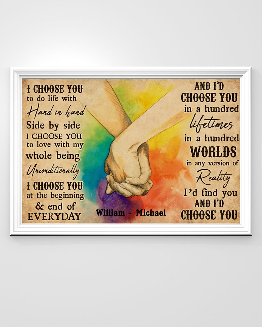 custom your name i choose you lgbt hands holding poster 3