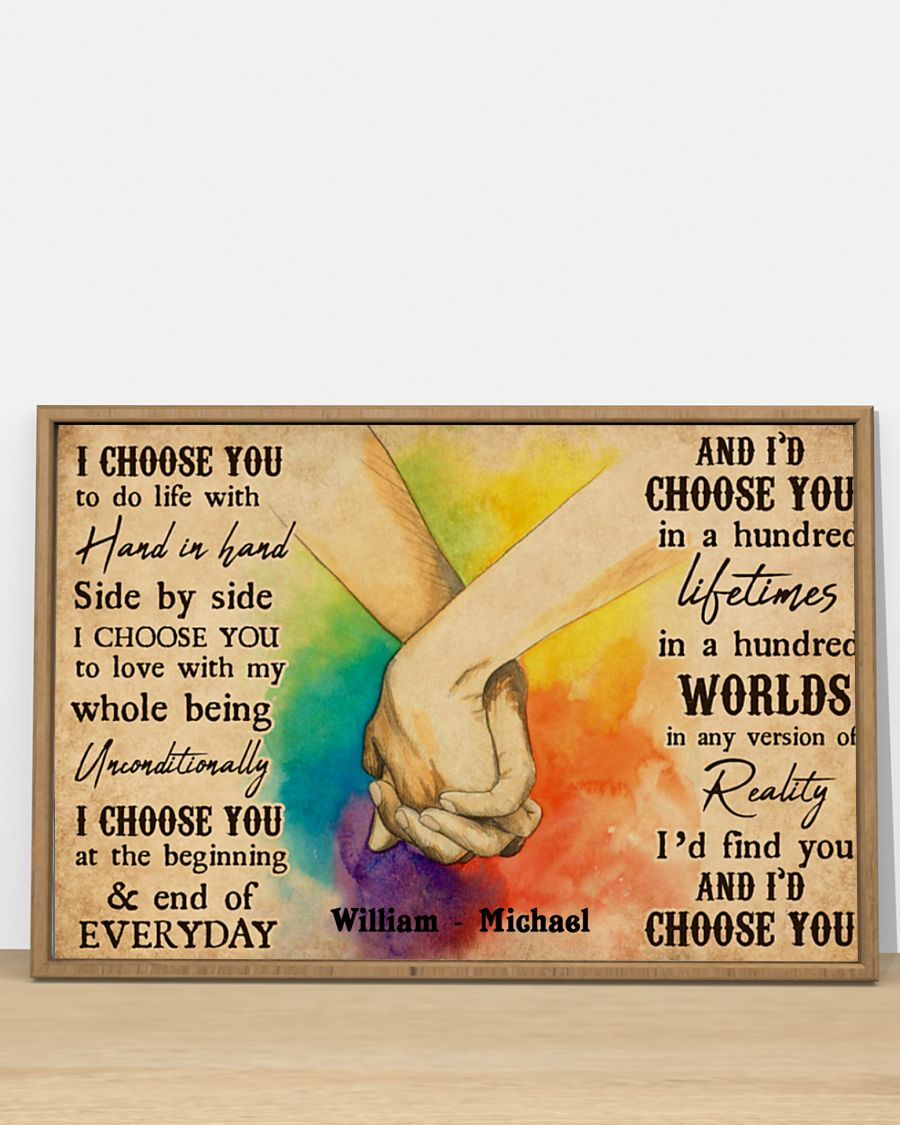 custom your name i choose you lgbt hands holding poster 4