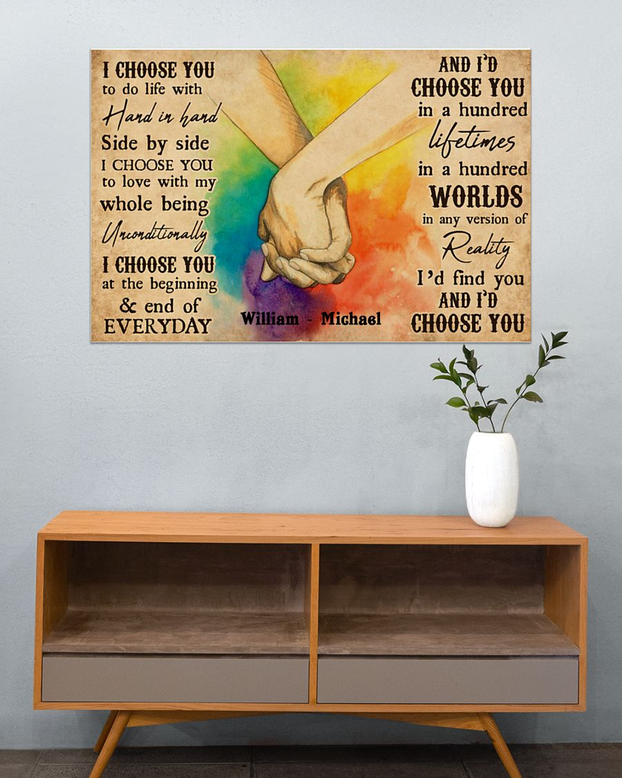 custom your name i choose you lgbt hands holding poster 5