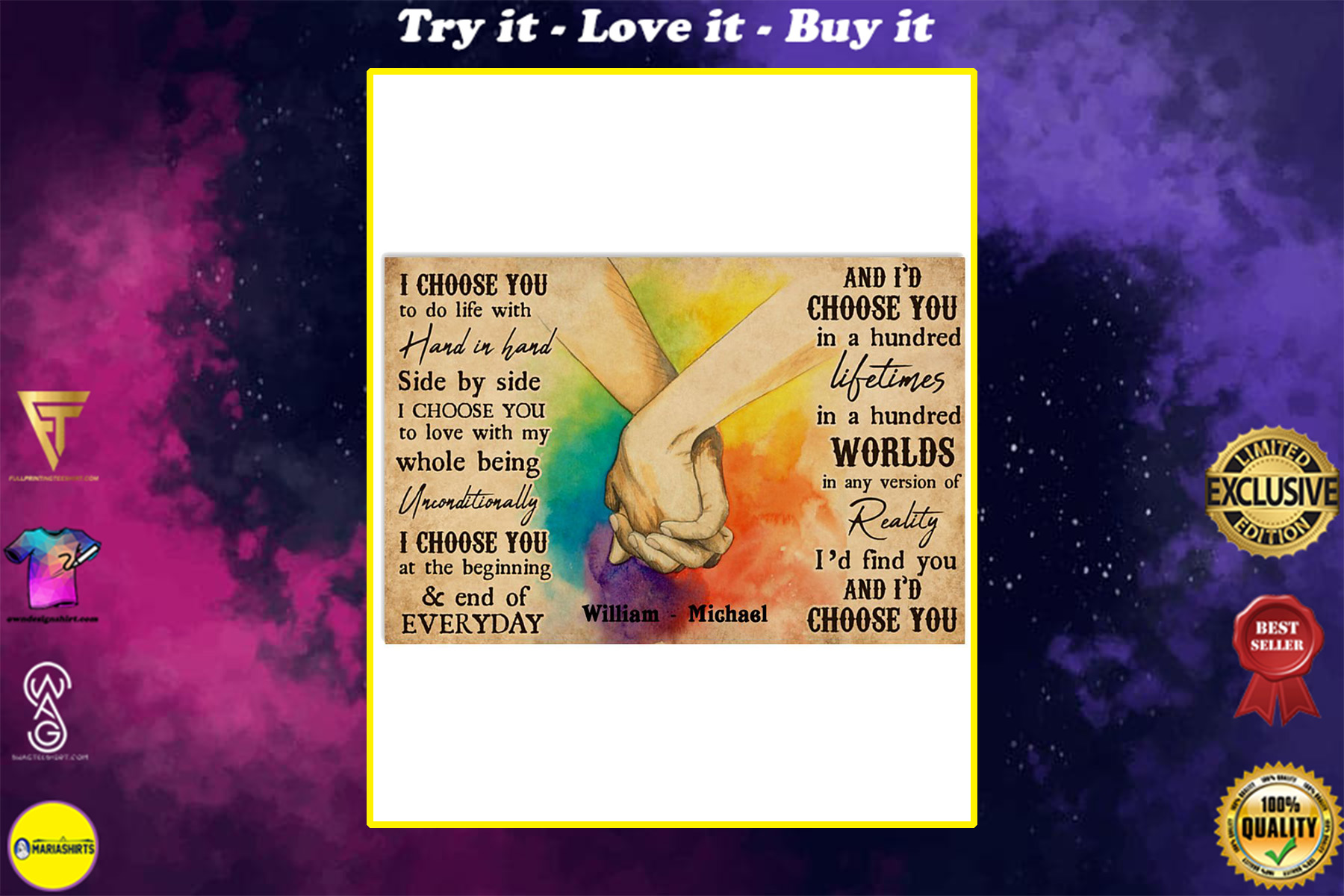custom your name i choose you lgbt hands holding poster