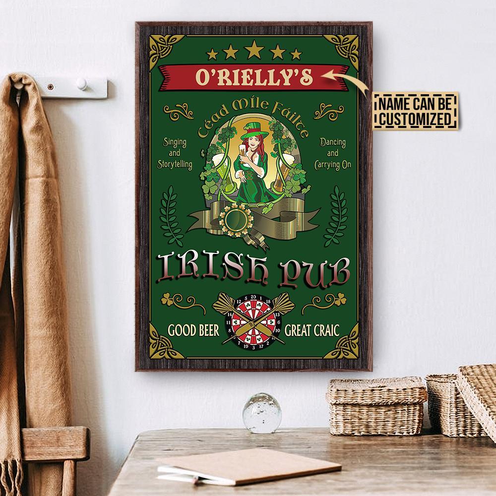 custom your name irish pub good beer great craic vintage poster 2