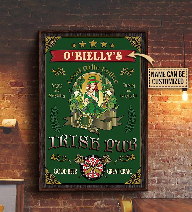 custom your name irish pub good beer great craic vintage poster 3