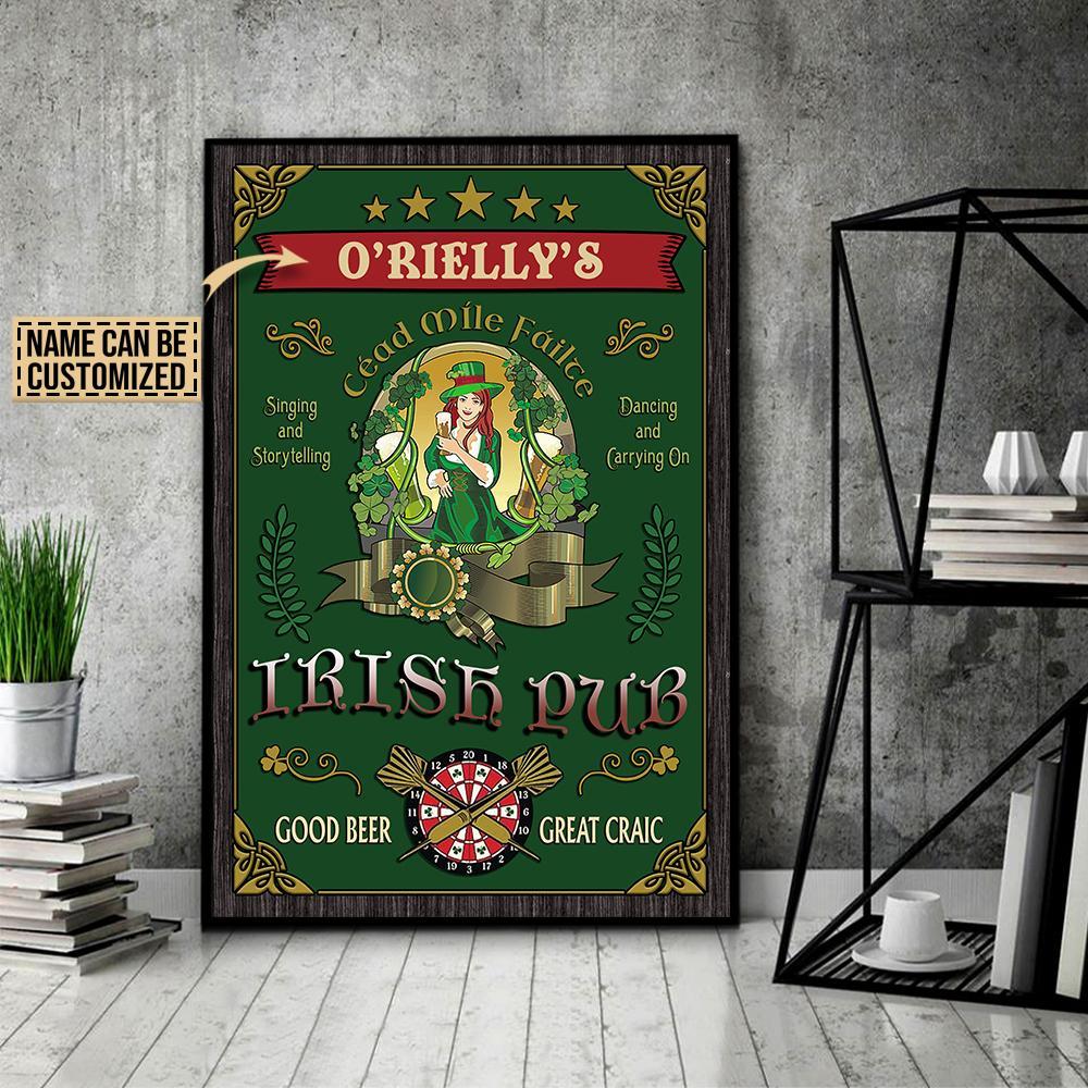 custom your name irish pub good beer great craic vintage poster 4