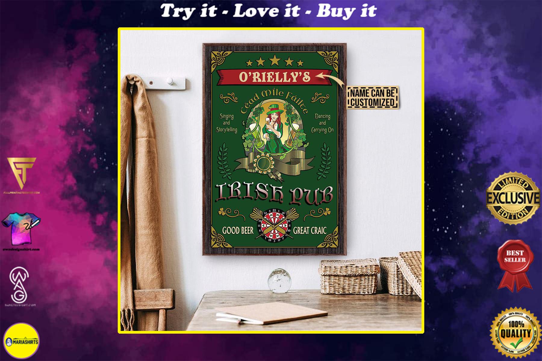 custom your name irish pub good beer great craic vintage poster