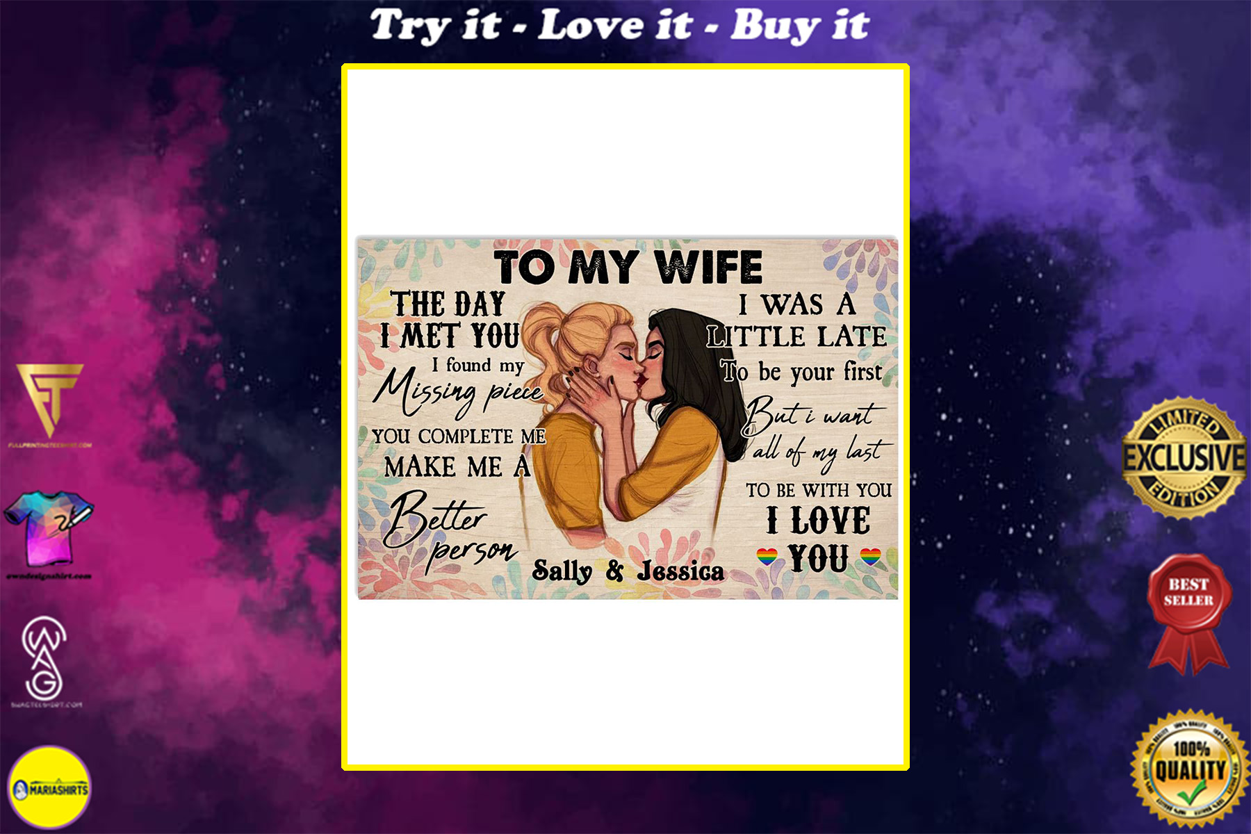 custom your name lesbian couple to my wife to be with you i love you poster