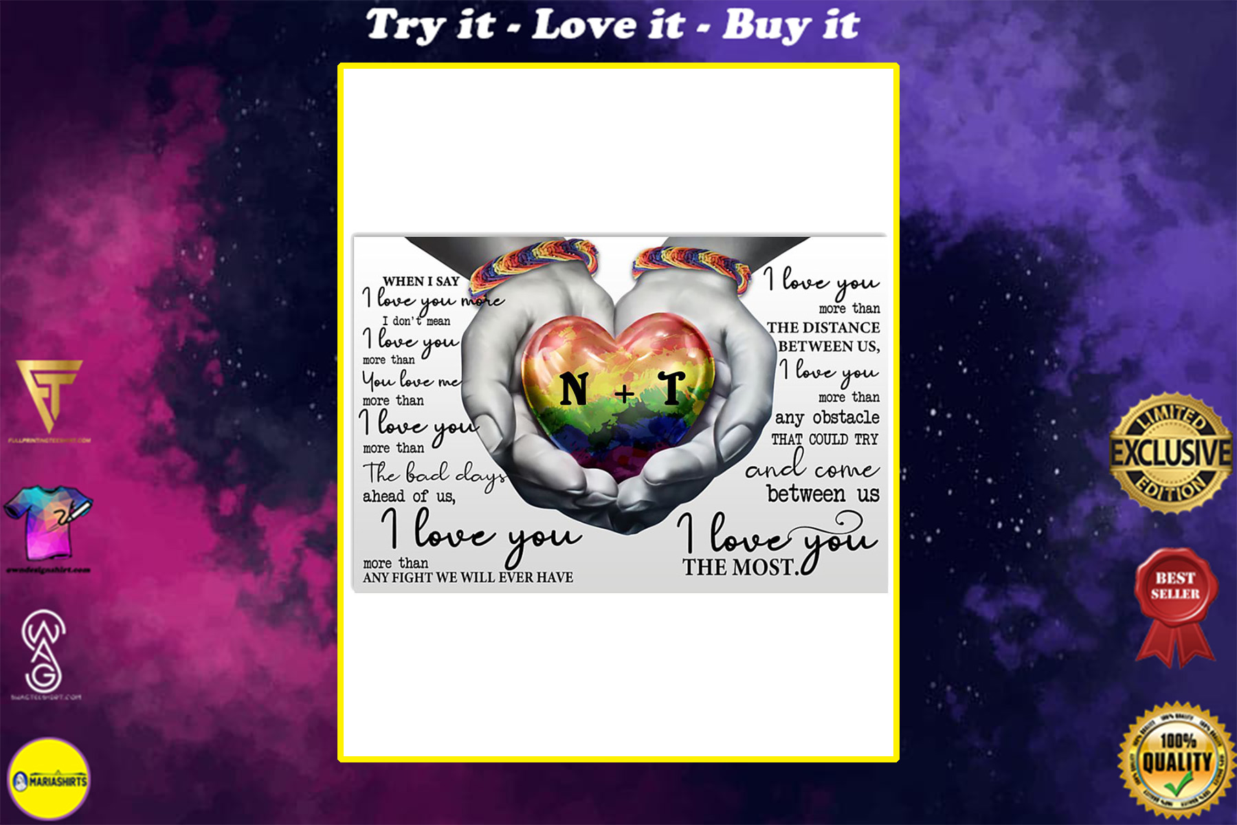 custom your name lgbt i love you the most poster