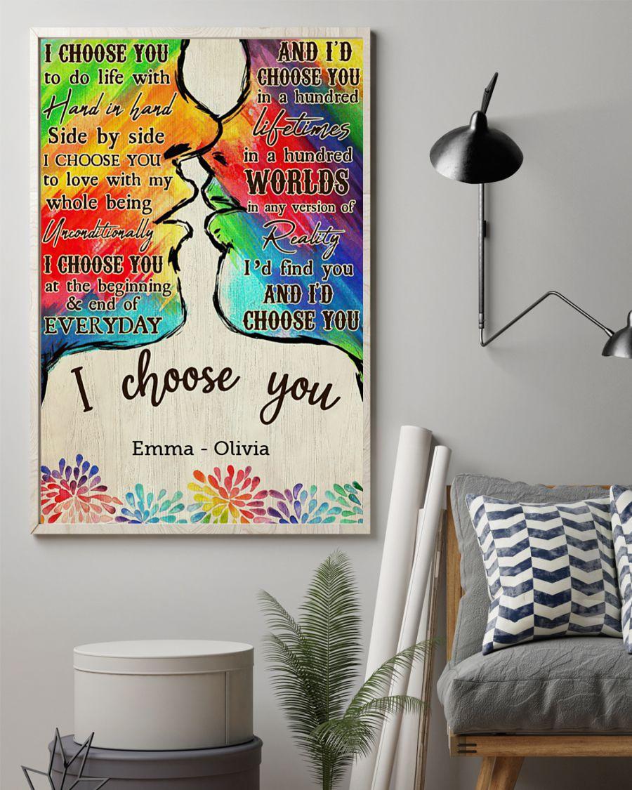 custom your name lgbt kiss i choose you poster 2