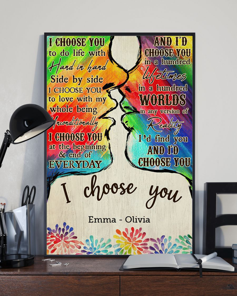 custom your name lgbt kiss i choose you poster 3