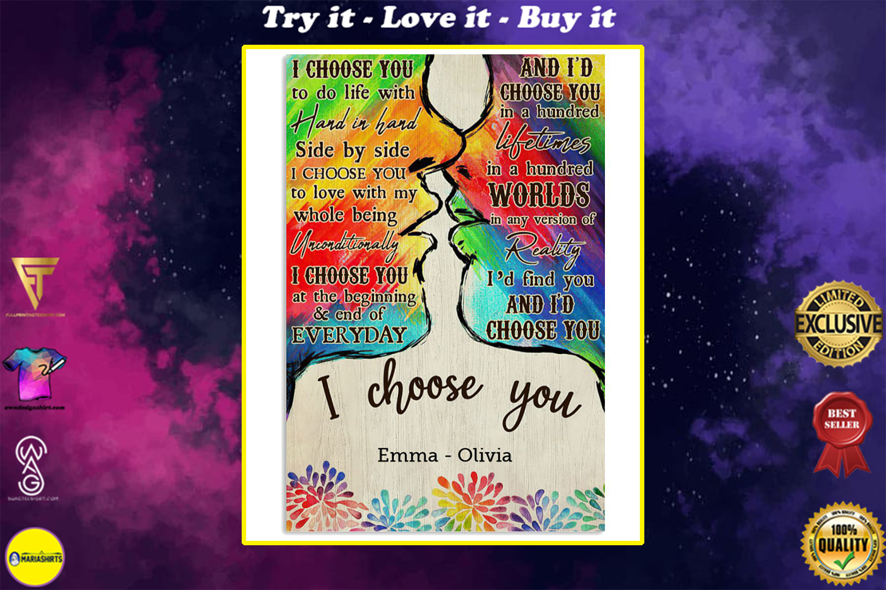 custom your name lgbt kiss i choose you poster