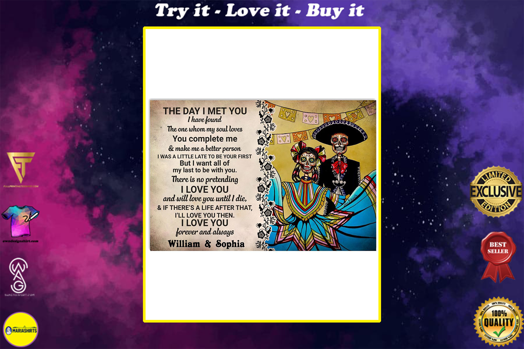 custom your name mexican couple the day i met you i love you poster