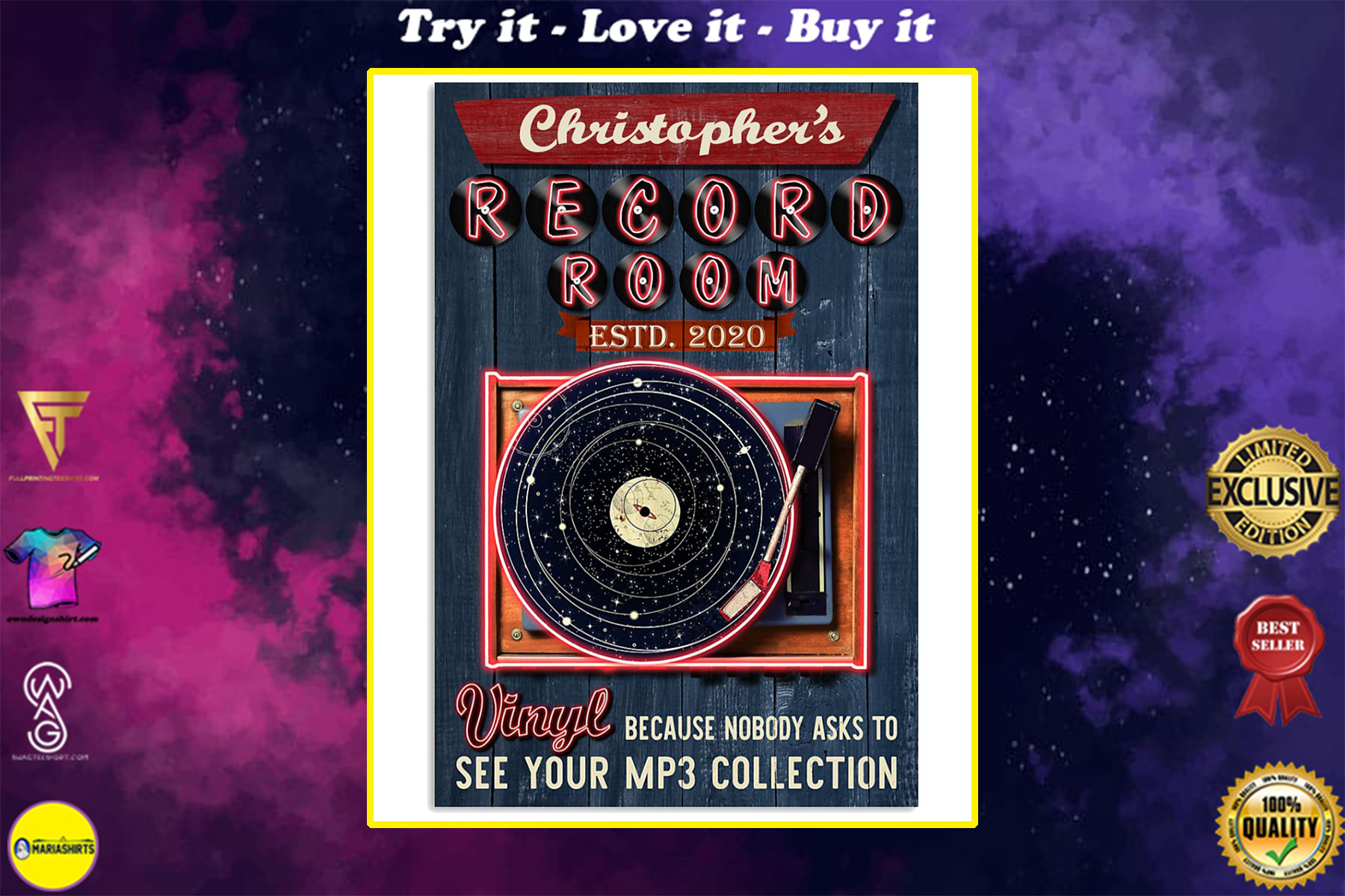 custom your name record room vinyl vintage poster