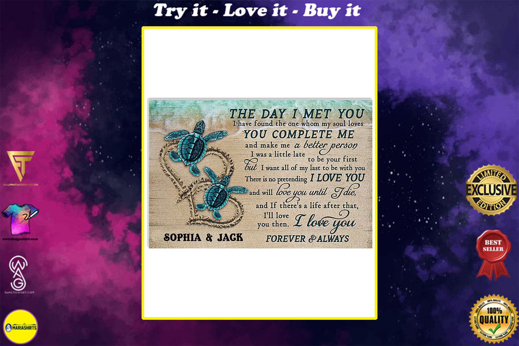 custom your name sea turtle the day i met you i love you poster