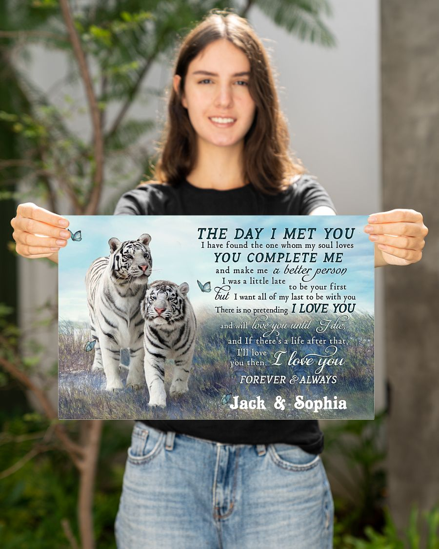 custom your name tiger couple the day i met you i love you poster 2