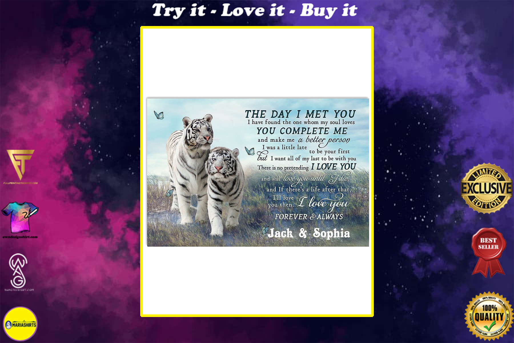 custom your name tiger couple the day i met you i love you poster