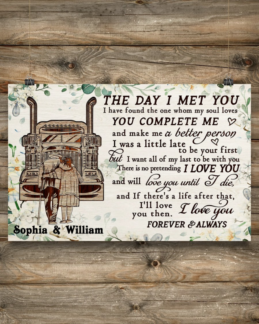 custom your name truck the day i met you i love you poster 3