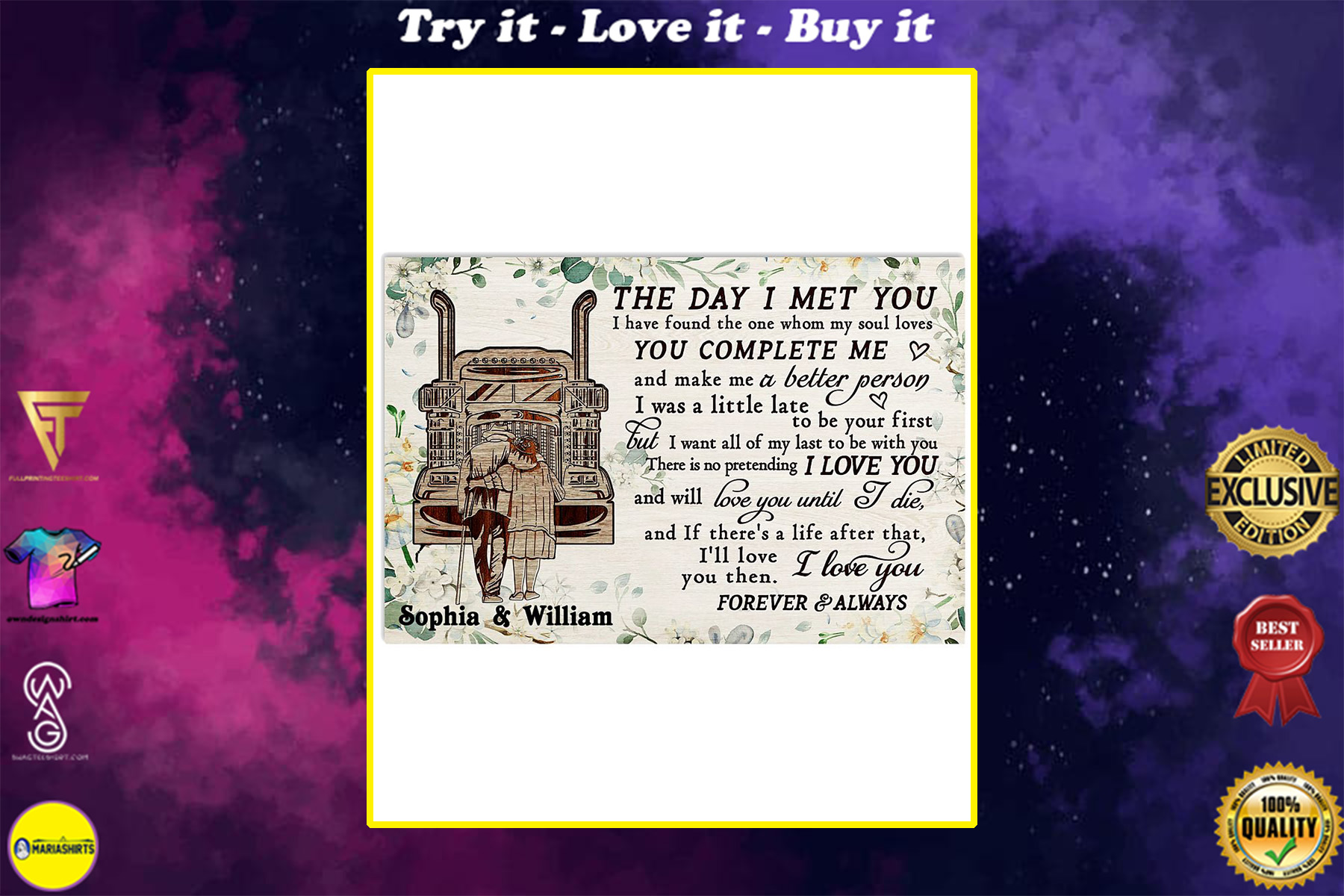 custom your name truck the day i met you i love you poster