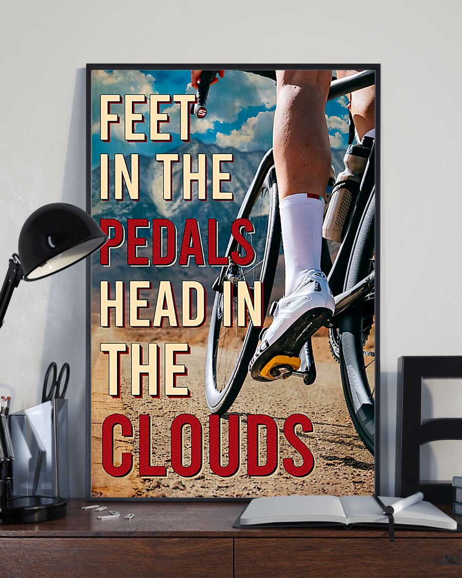 cycling feet in the pedals head in the clouds vintage poster 3