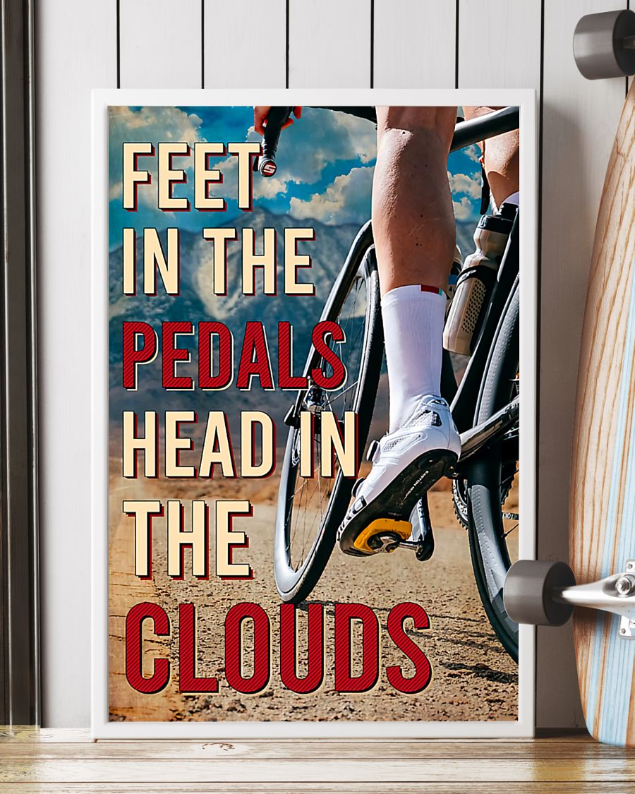 cycling feet in the pedals head in the clouds vintage poster 4