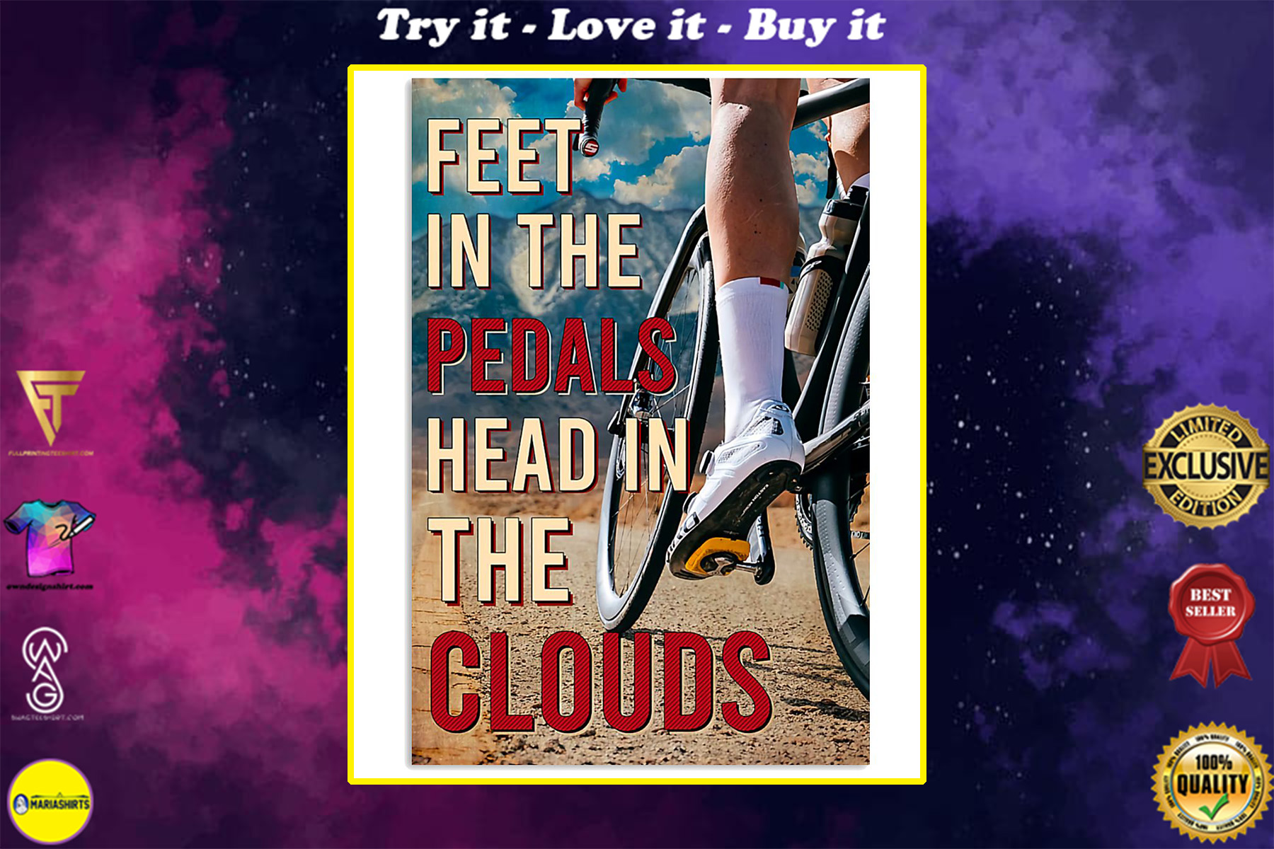 cycling feet in the pedals head in the clouds vintage poster