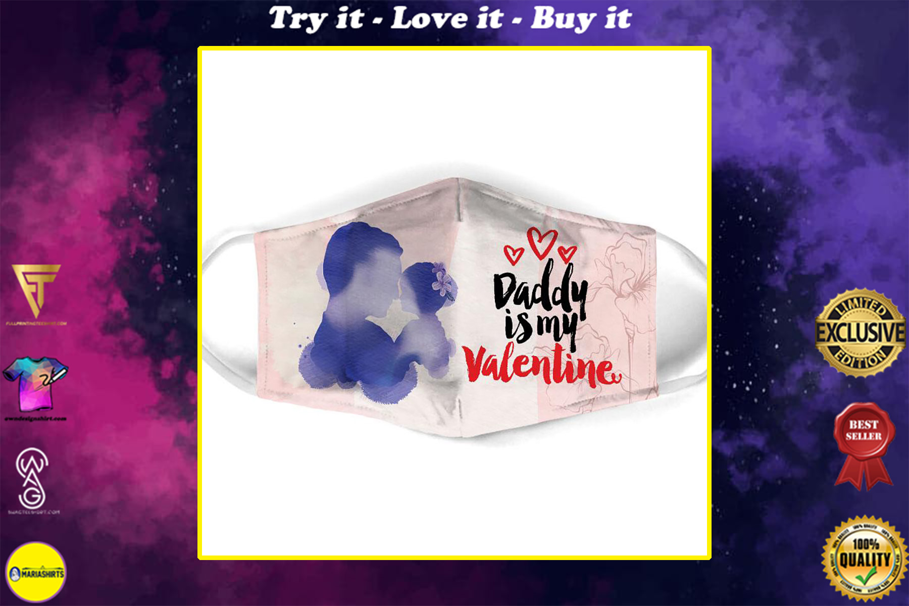 daddy is my valentine all over print face mask