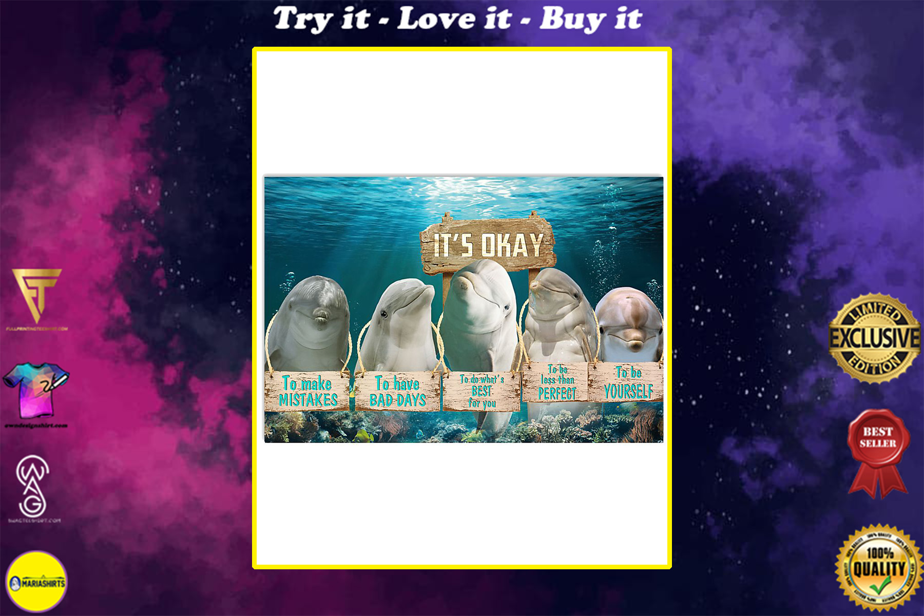 dolphin its okay to make mistakes to have bad days to be yourself poster