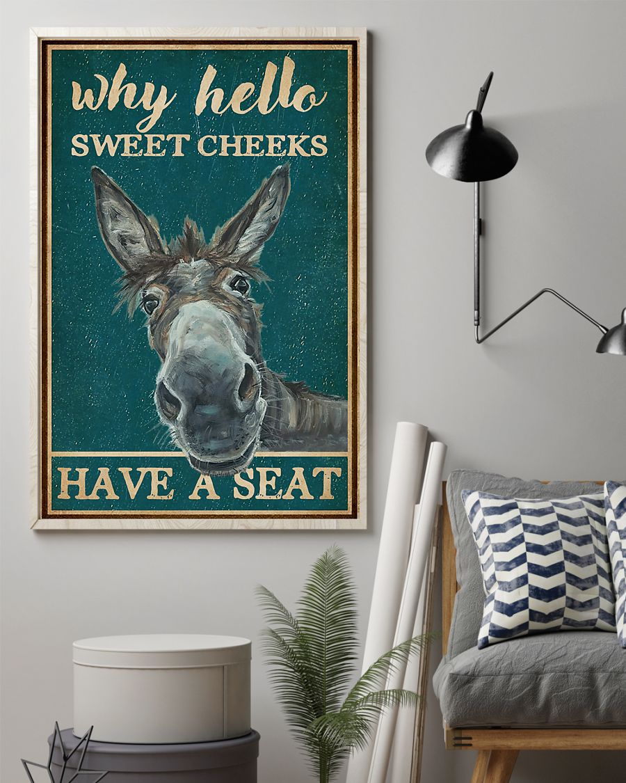 donkey why hello sweet cheeks have a seat vintage poster 2