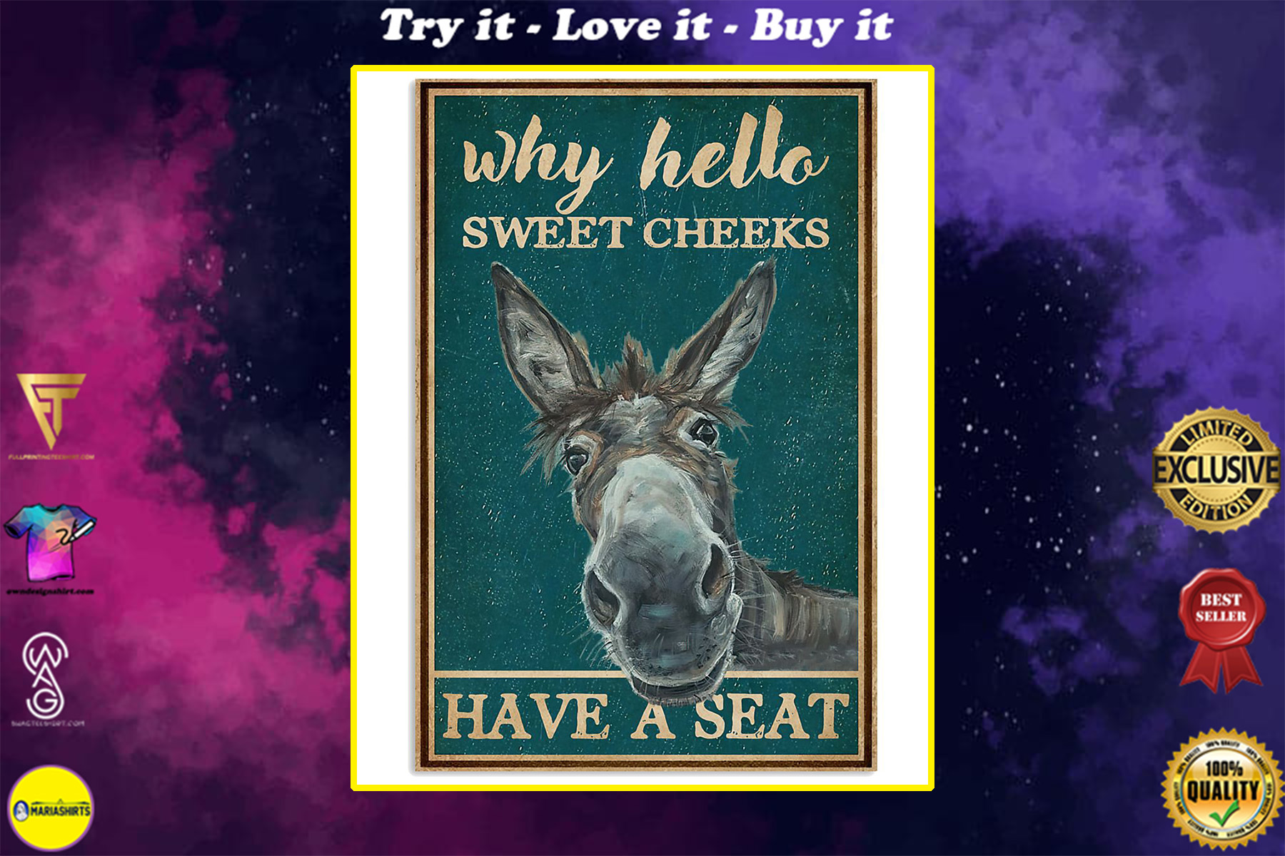 donkey why hello sweet cheeks have a seat vintage poster