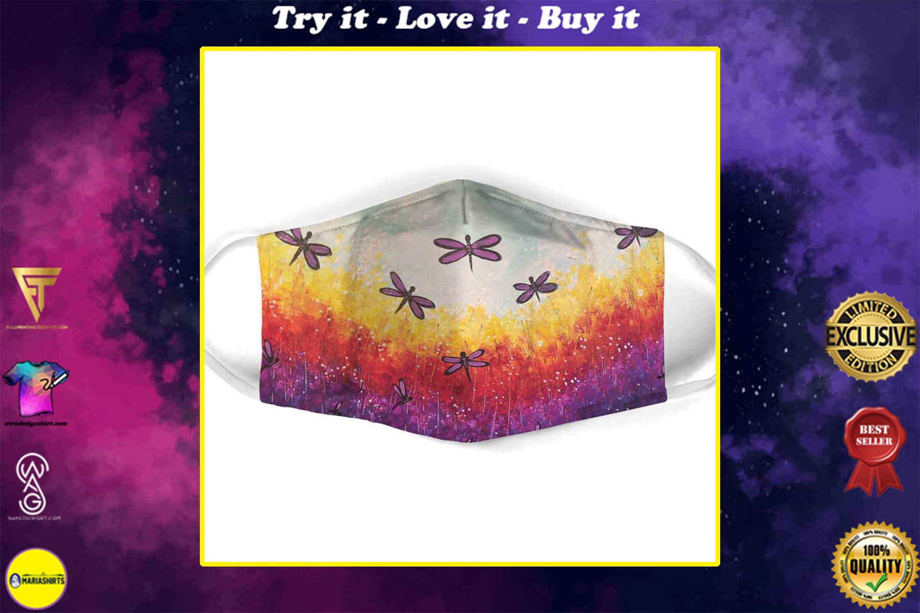 dragonfly floral landscape all over print face mask