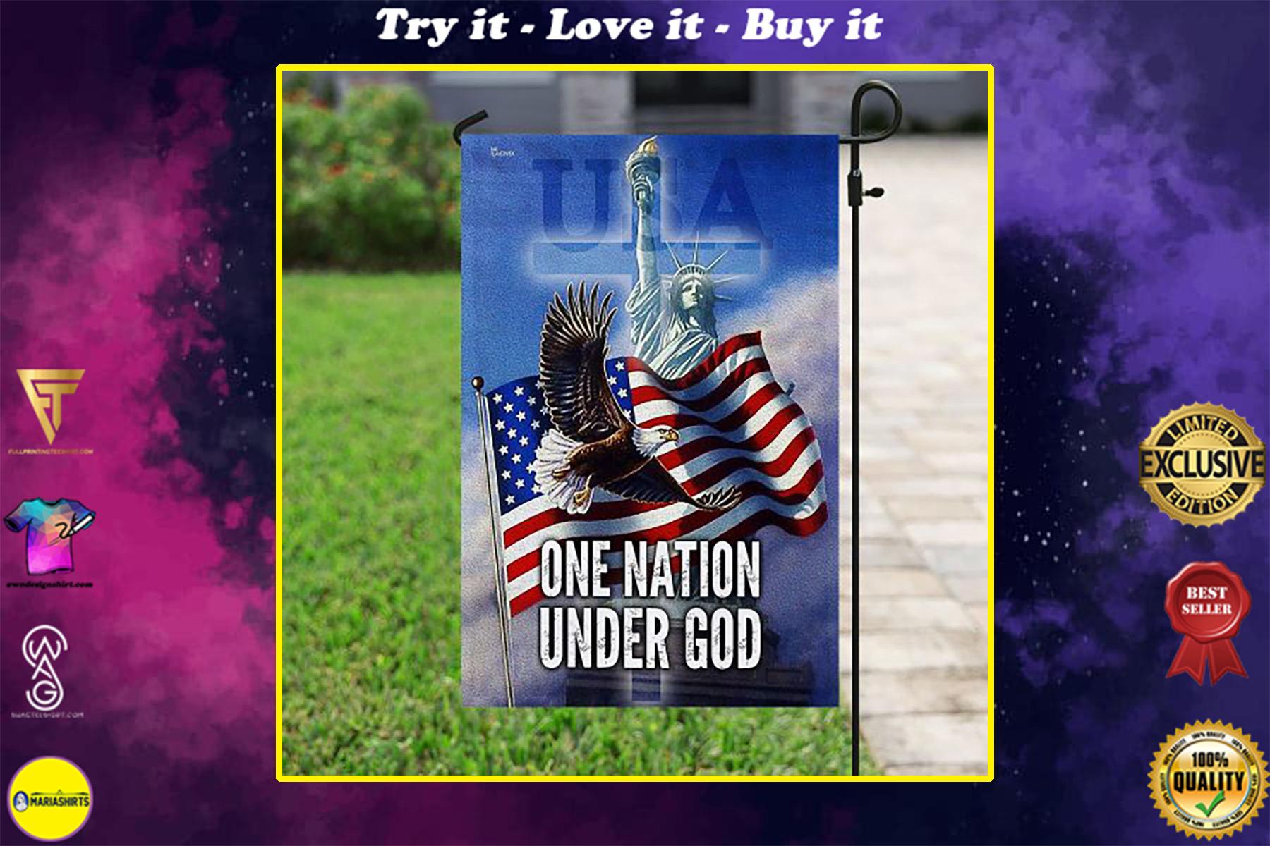 eagle american flag one nation under God all over print flag