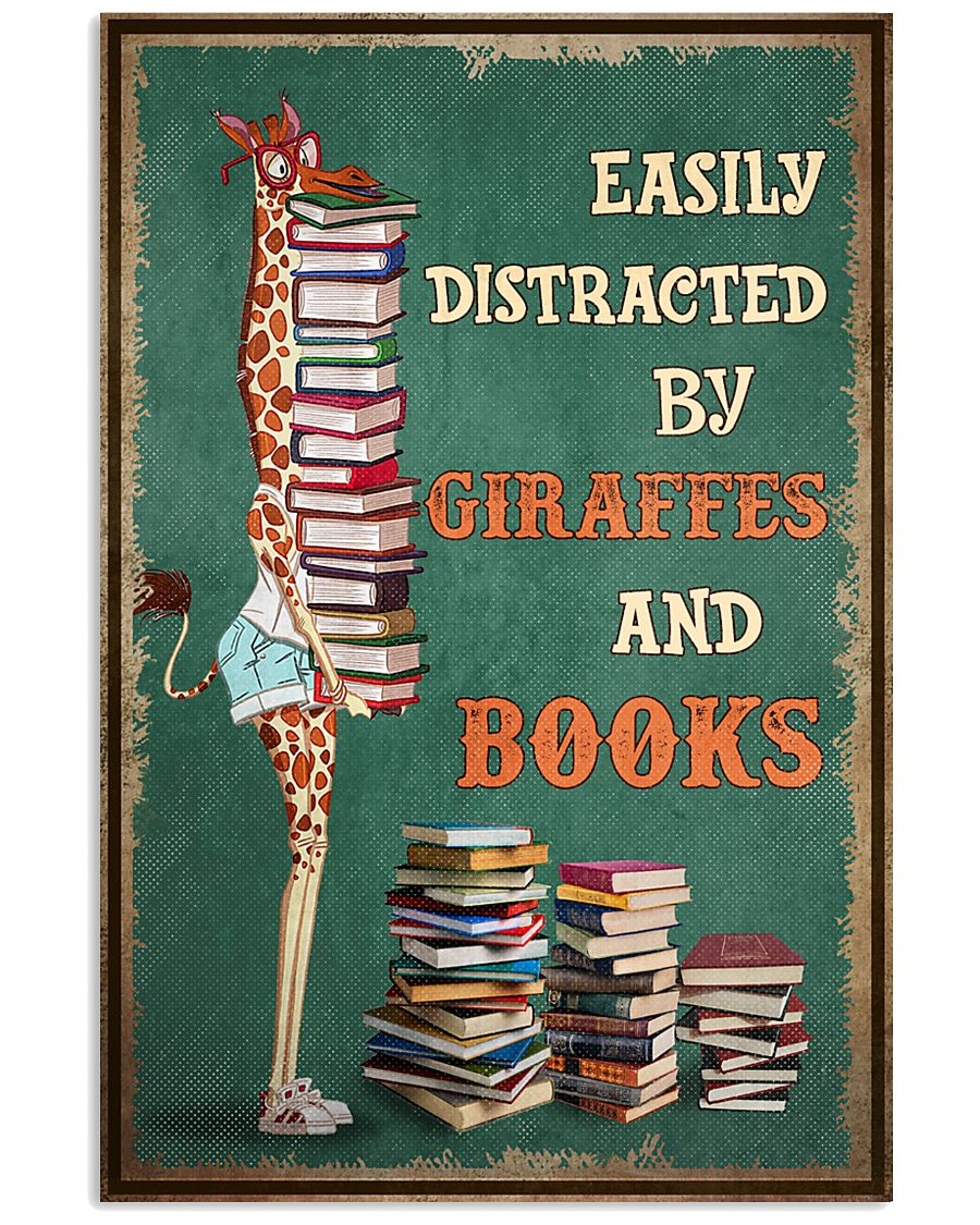 easily distracted by giraffes and book poster 2