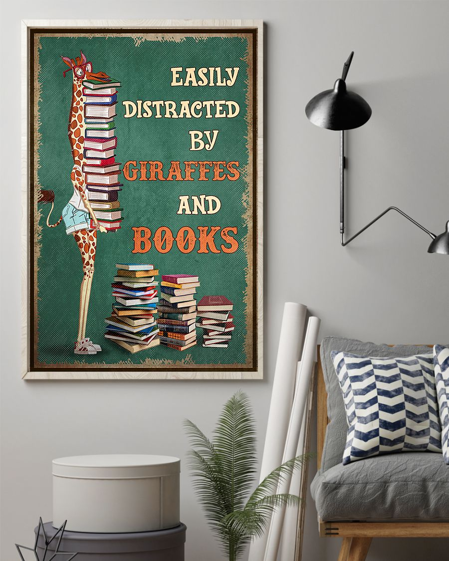 easily distracted by giraffes and book poster 3