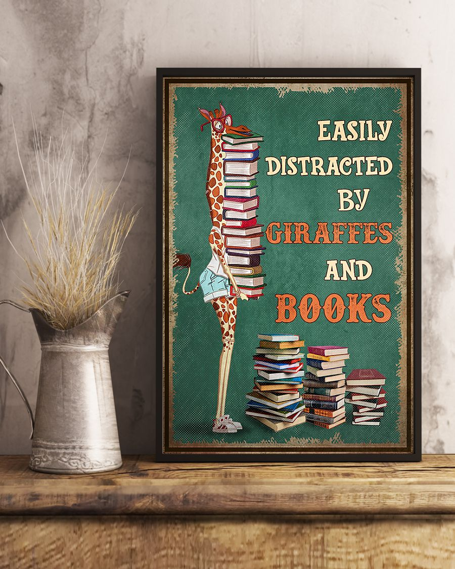 easily distracted by giraffes and book poster 4