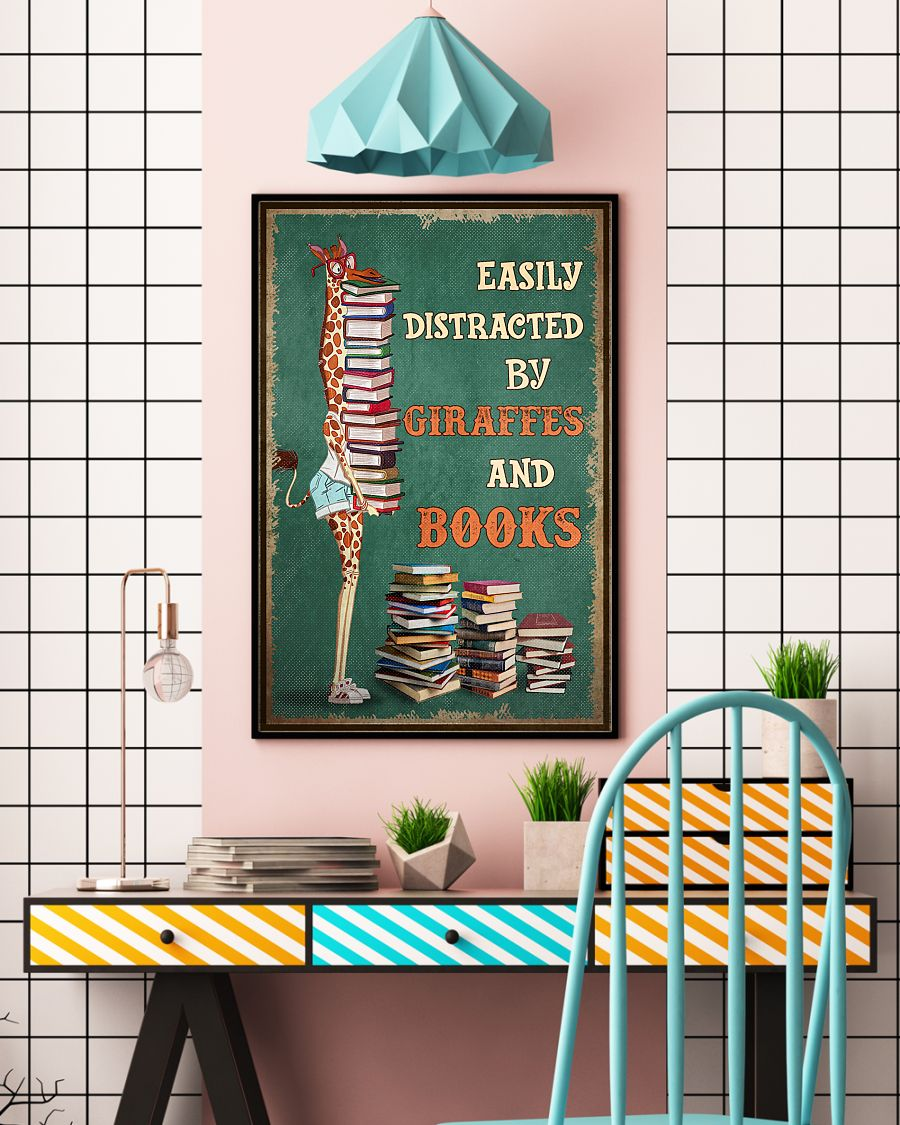 easily distracted by giraffes and book poster 5
