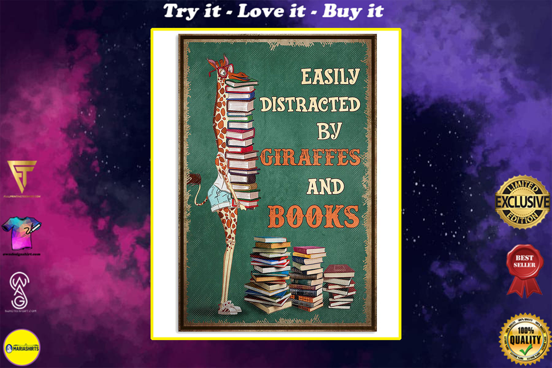 easily distracted by giraffes and book poster