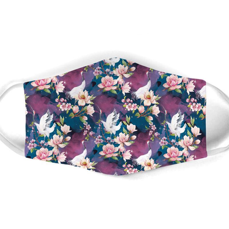 floral egret all over print face mask 1