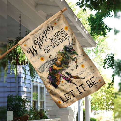 floral whisper words of wisdom bee all over print flag 3