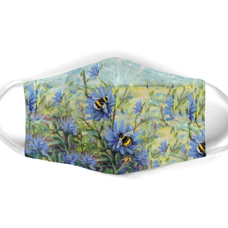 flower garden and bee all over print face mask 1