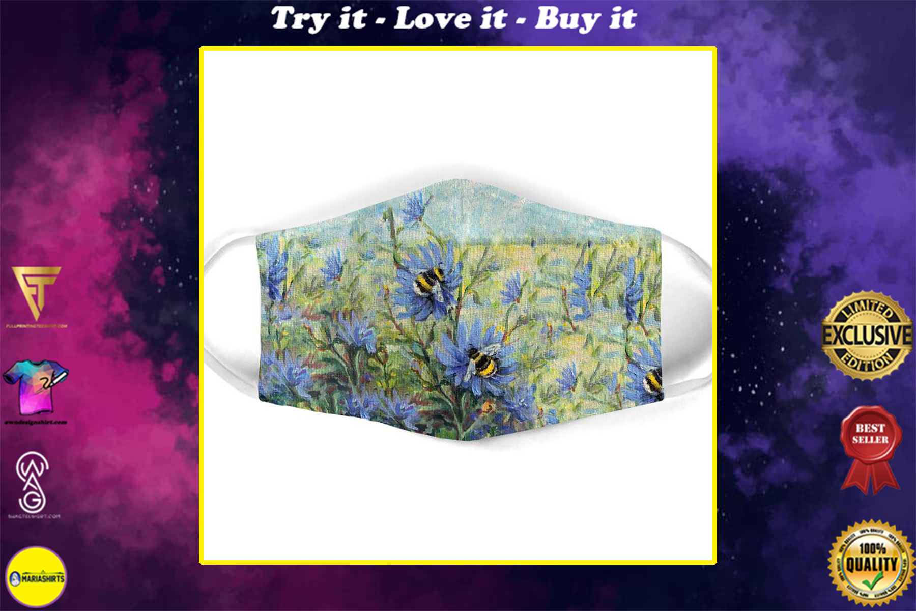 flower garden and bee all over print face mask