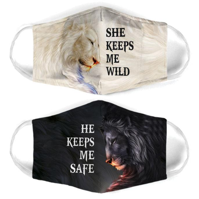 for couple lion she keeps me wild all over print face mask 1