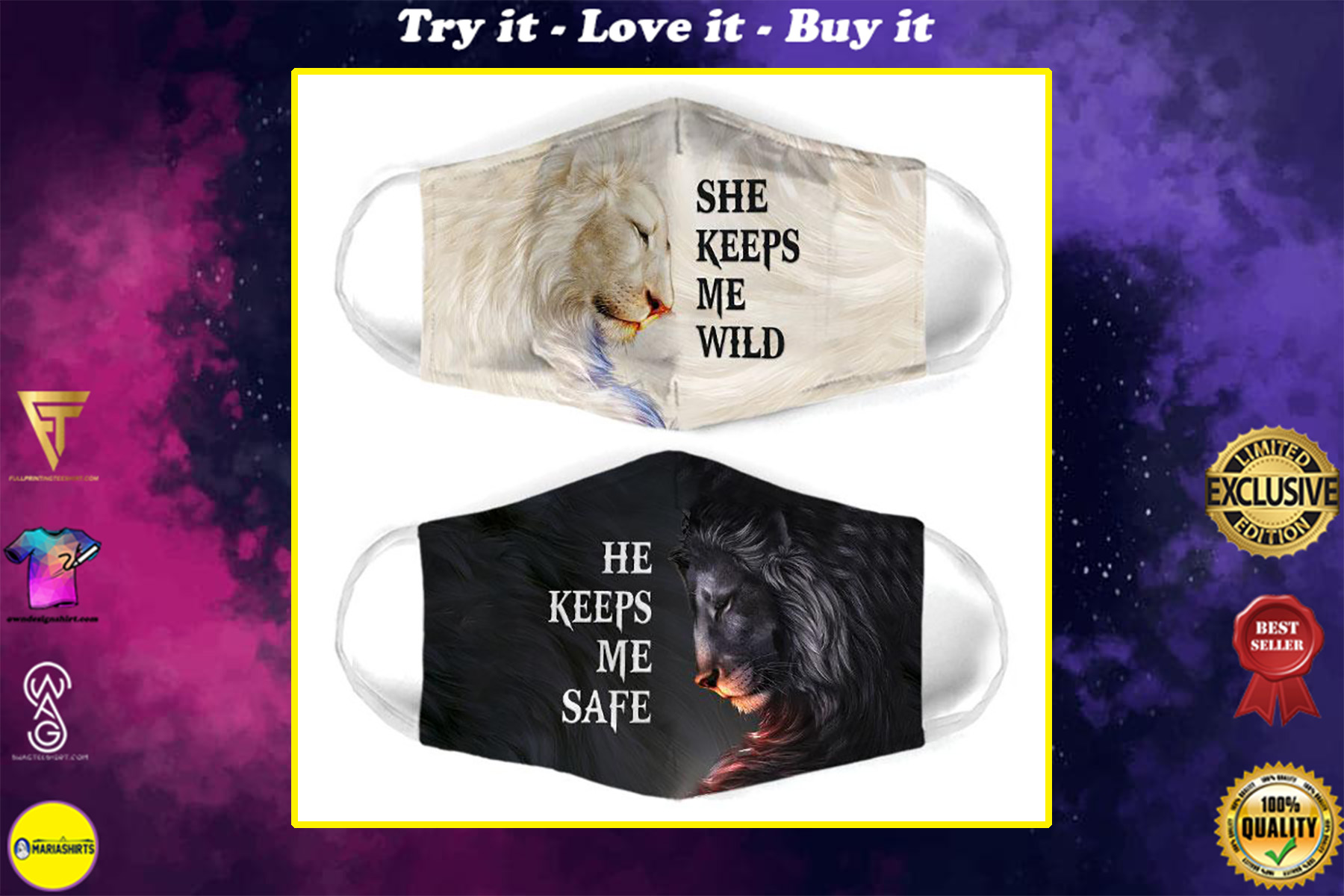 for couple lion she keeps me wild all over print face mask