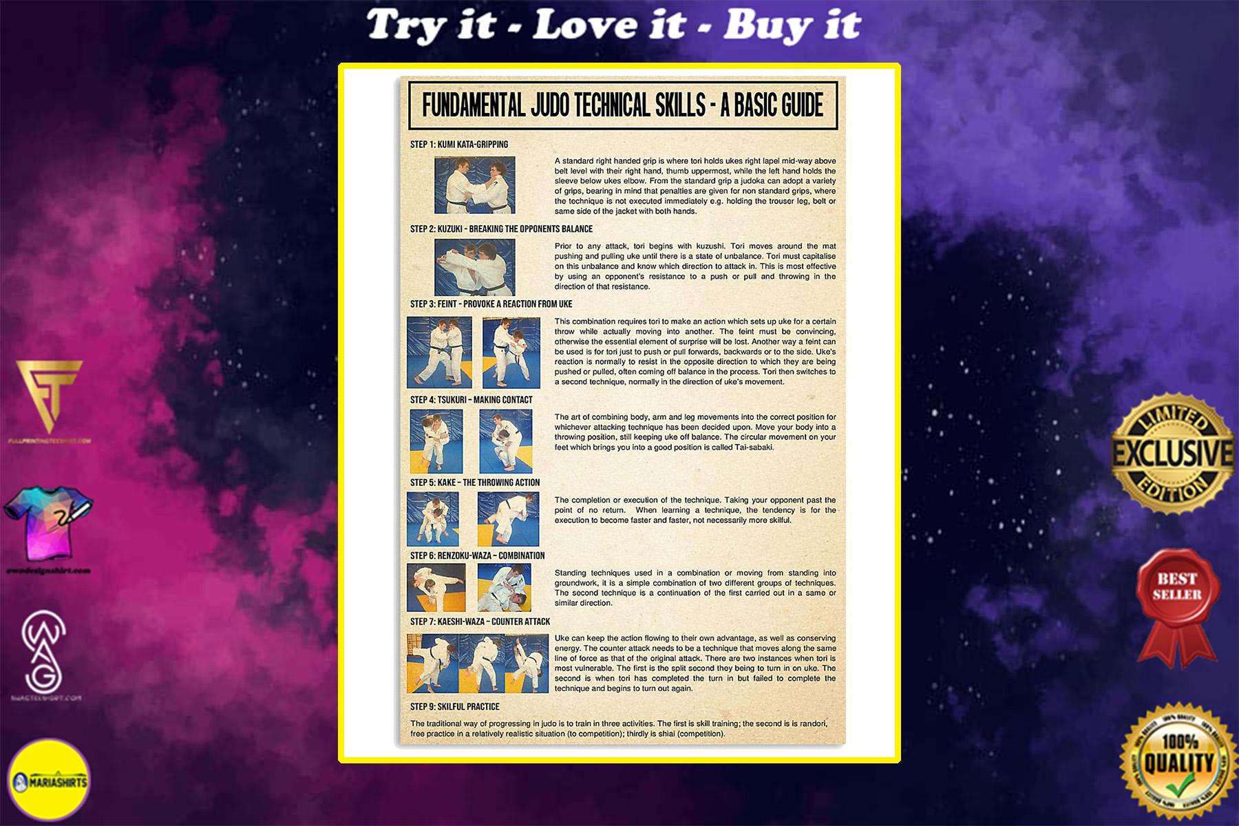fundamental judo technical skills poster
