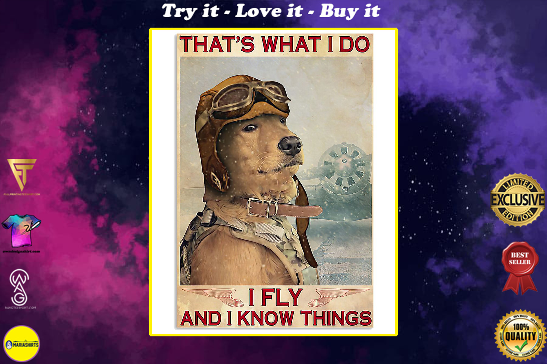 golden retriever thats what i do i fly and i know things retro poster
