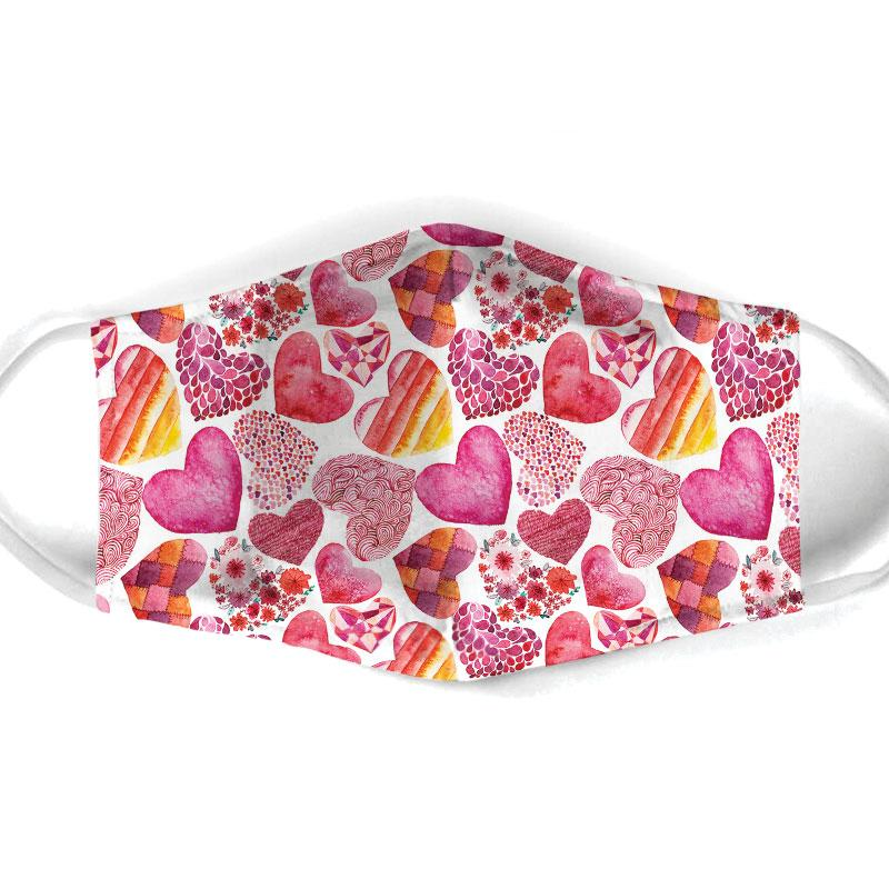 heart pattern all over print face mask 1