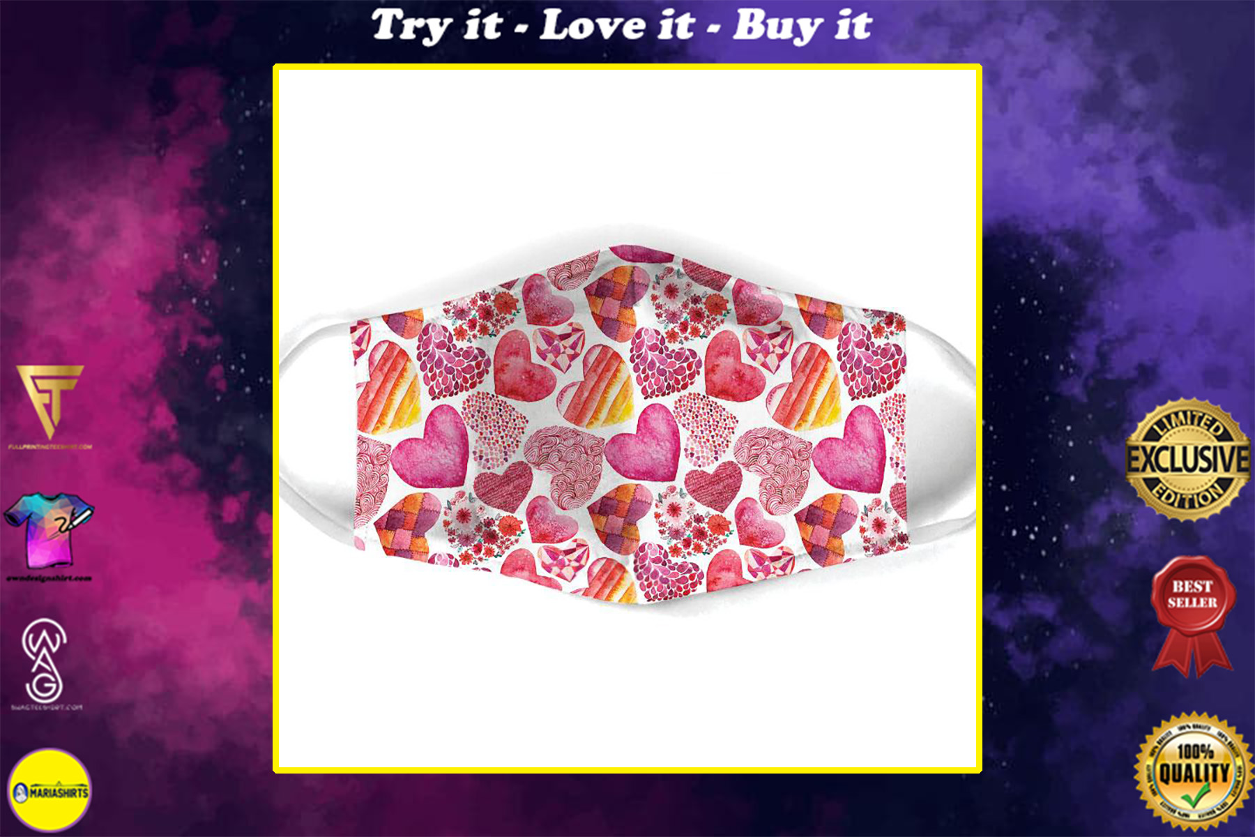 heart pattern all over print face mask