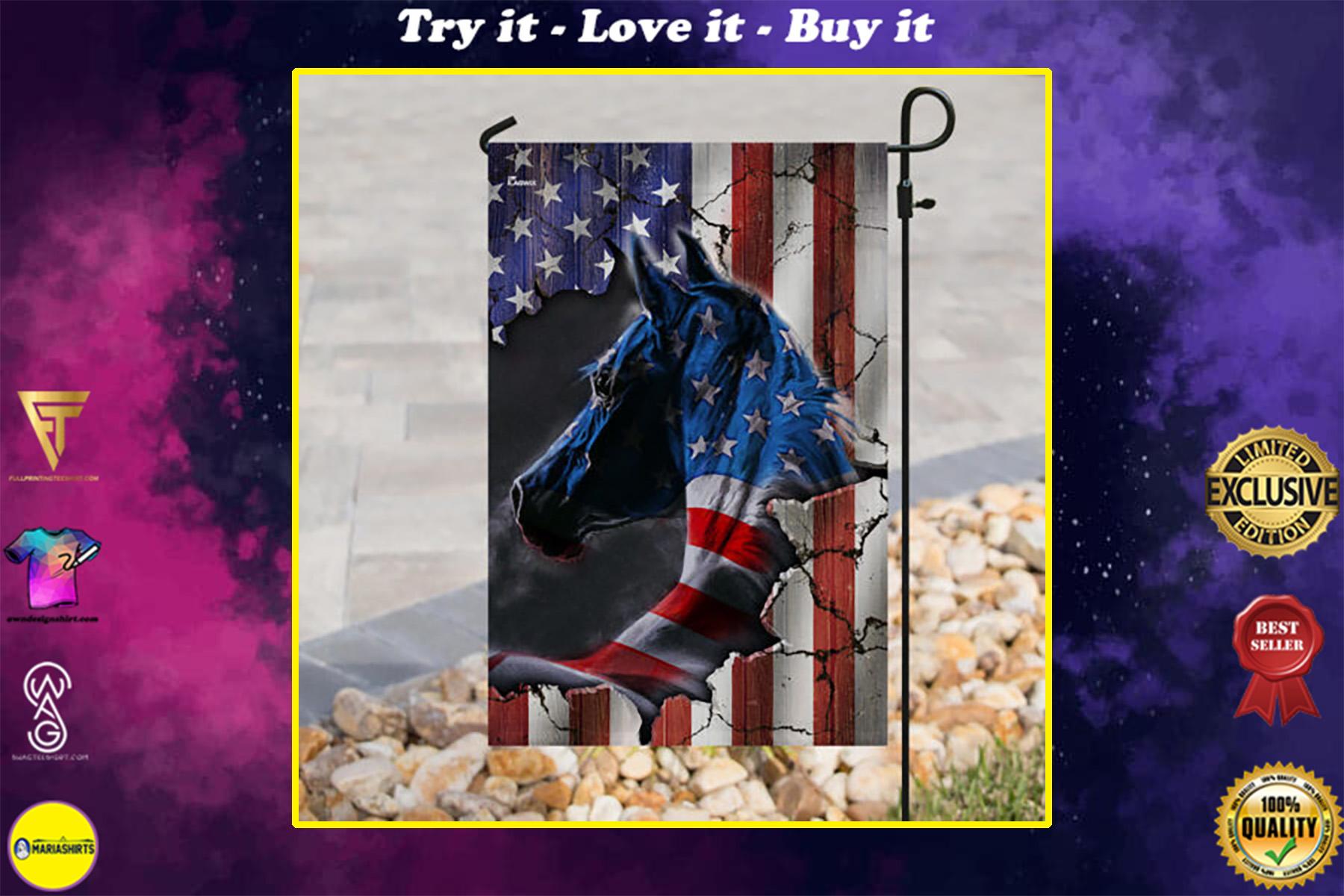 horse fan american flag all over print flag