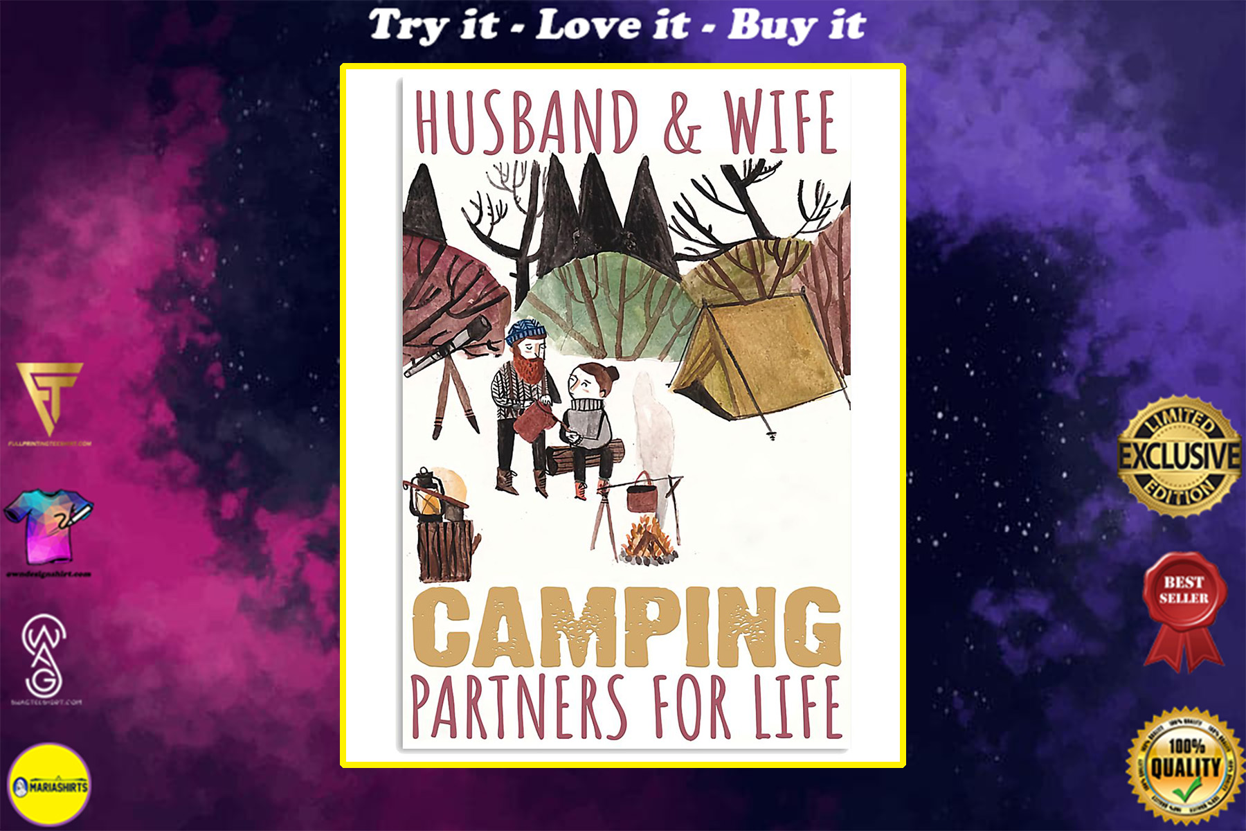 husband and wife camping partners for life poster