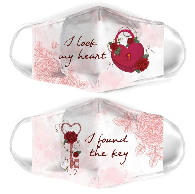 i lock my heart for couple love all over print face mask 1